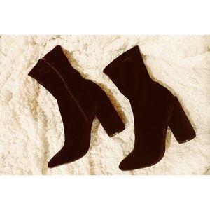 Velvet Black Boot Bootie Heels Chunky Heel
